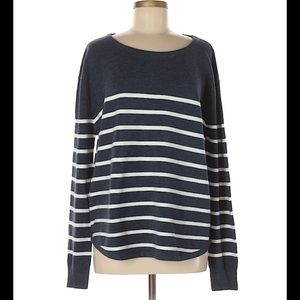 French Connection Blue & White Striped Sweater-L